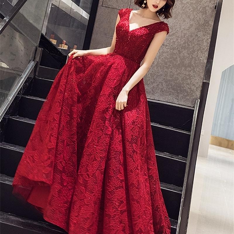 Longues robes de soirée robe à manches de bouchon paillettes paillettes promenades robe élégante perles de broderie de robe de vestine de gala robe dames 201113