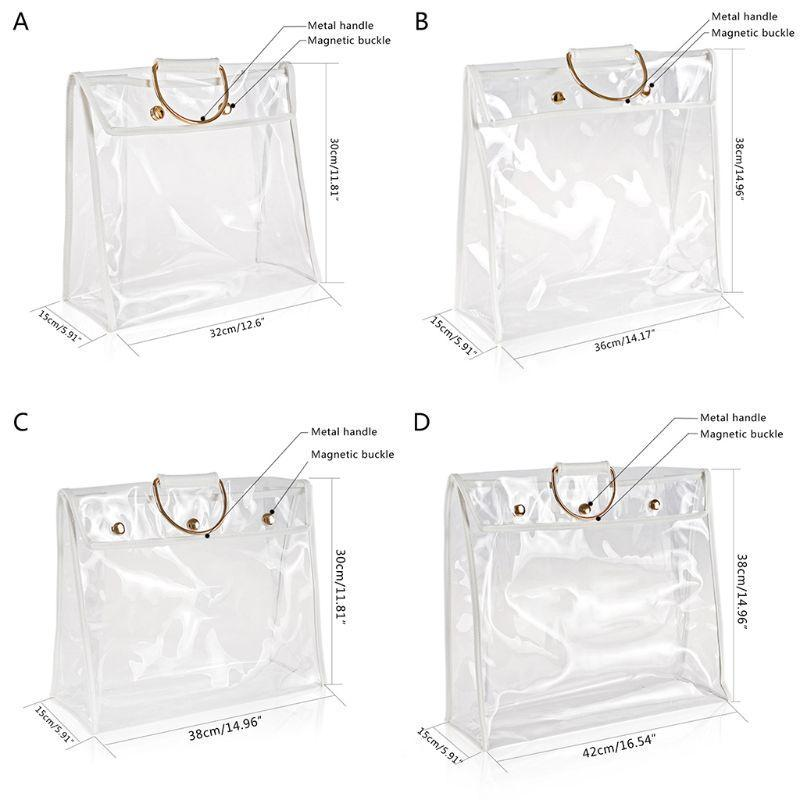 Şeffaf toz torbası çanta organizatör toz geçirmez çanta dolap kanca tutucu