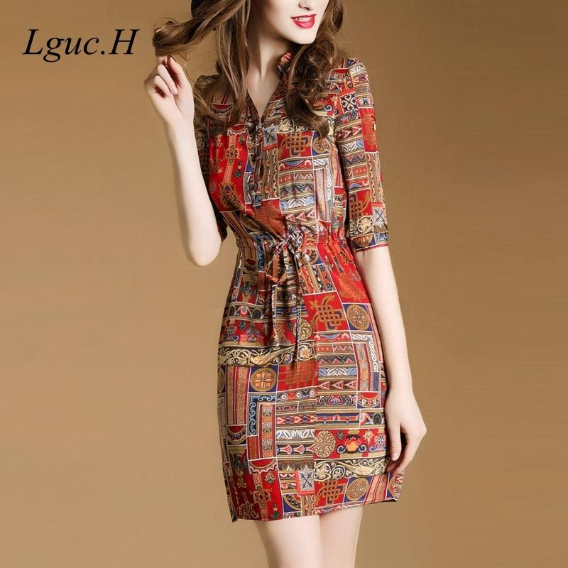 Lguc.h Роскошная летняя повязка в социальный шелковый шифон рубашка высокая талия старинные платье женщин одежда красный 201013
