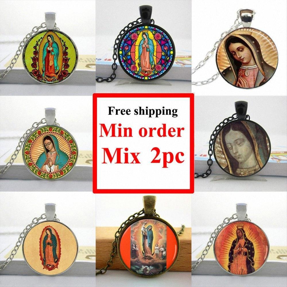 Оптовая Оптовая Богородица Гуадалупе ожерелье Богоматери Гуадалупе ювелирные изделия Девы Марии Священное Сердце художественного стекла ожерелье M7wj #