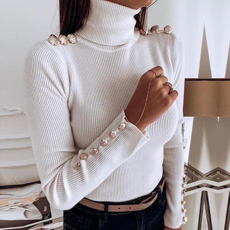 Осень зима водолазка Тонкие вязаные свитеры Женщины повседневный сплошной цвет с длинным рукавом кнопка пуловеры топы женские перемычки