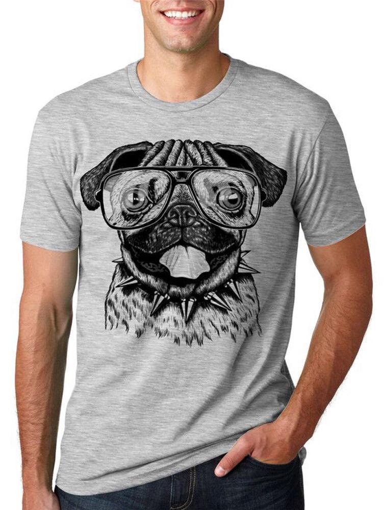Nouveau été drôle T-shirt des hommes Pug Le port de lunettes T-shirt drôle animal T avec un sport Tee mode chien mignon de T-shirt à capuche Sweat à capuche