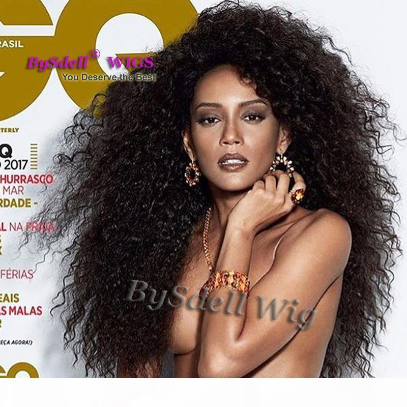 Premium Sexy Black Coiffure Wig Synthetic Long Kinky Curly Curly Dentelle Gloupe Dentelle Frontière Perruques Synthétiques Livraison Gratuite