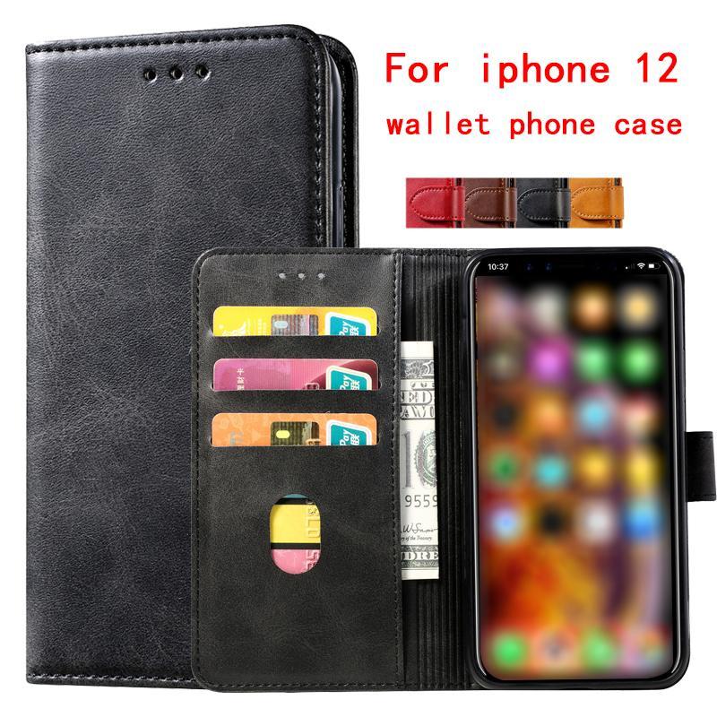 Para iPhone 12 Carteira Caixa de telefone de alta qualidade Couro PU titular tampa protetora para iphone 11 pro max xr xs 8 7 plus