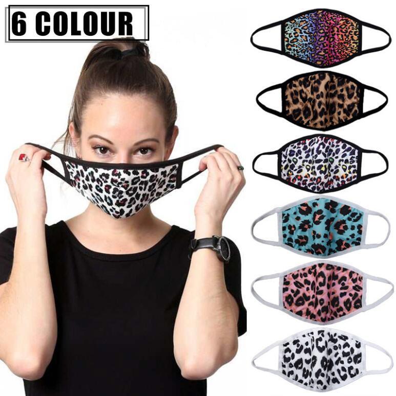Face Face Masks CCA12583 Impresión del respirador de la boca a prueba de polvo Leopard Designer Adulto Protector de la cara Reutilizable Cubierta 3D 60pcs xfllt