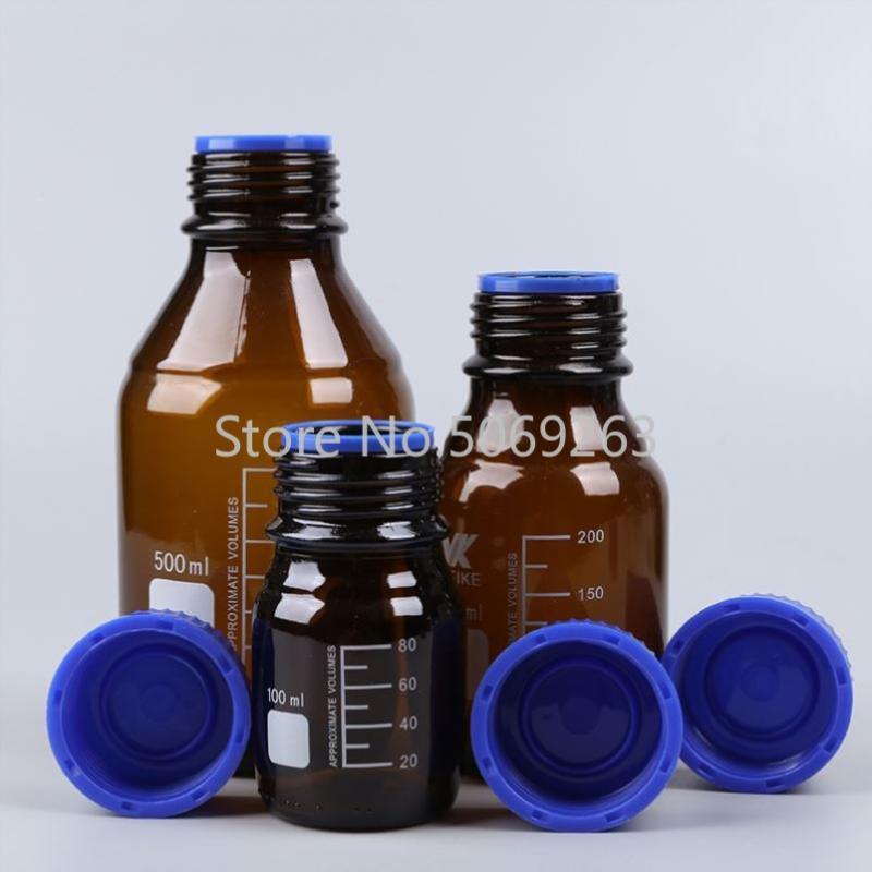 1 unids Capacidad 100/250 / 500 / 1000ml Botella de reactivo Boca de botella con gorra azul marrón Ámbar de vidrio de vidrio Equipos de química