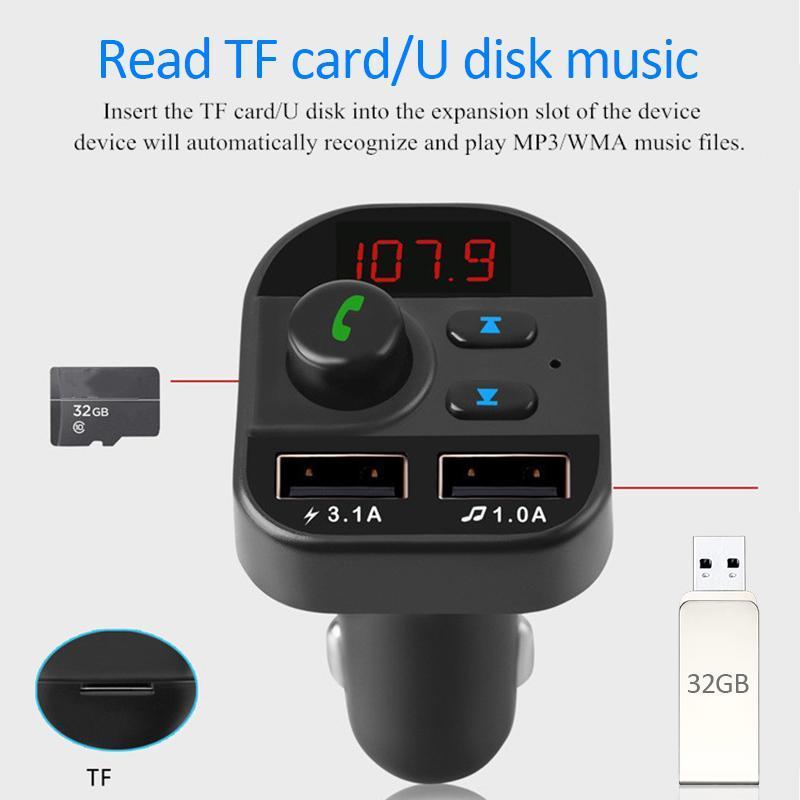 Комплект громкой связи автомобиль беспроводной Bluetooth FM передатчик MP3 Radio 2 USB зарядное устройство автомобильные аксессуары громкой связи