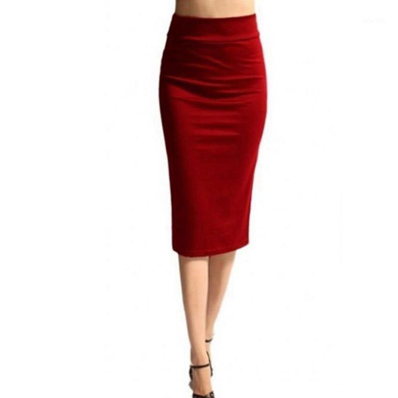 Herbst Winter Frauen Bleistift Rock Hohe Taille Baumwolle Massivfarbe Stretch Elastische Slim Business Split Bodycon Röcke AC8891