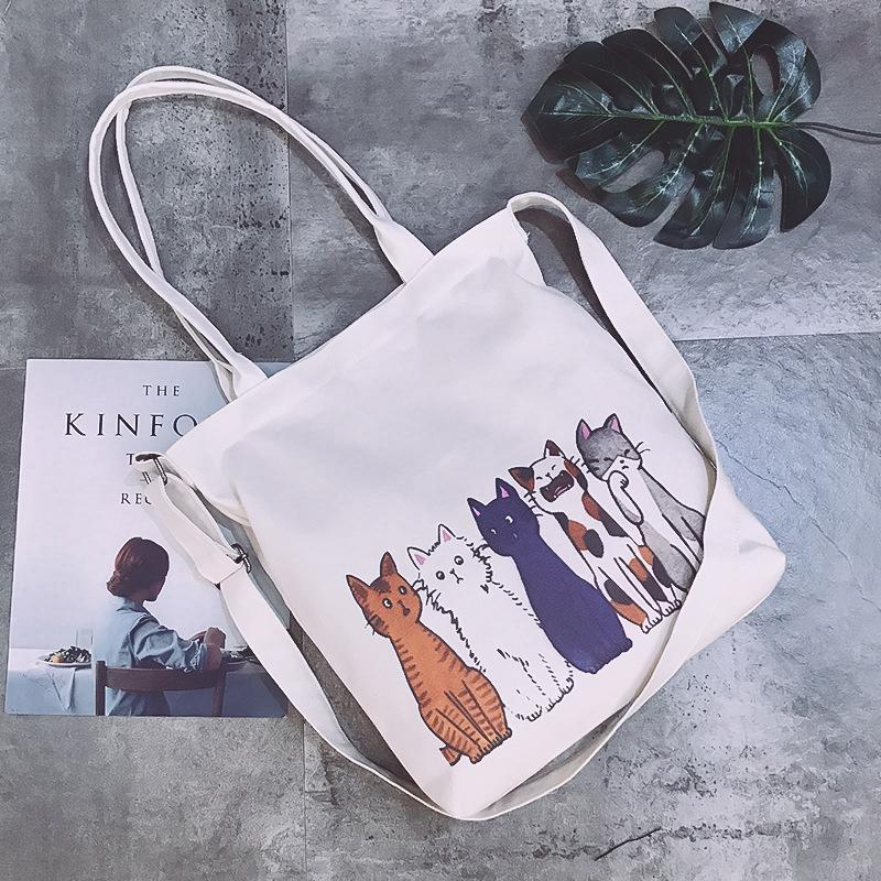 Cute Cat Canvas Cloth Shopping for Women Sports bag 2020 Lovely Printed Crossbody Girls Book Totes White bolsas de tela Q1109