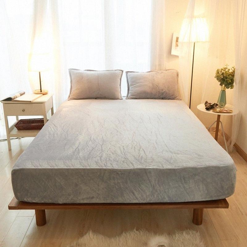 2019 nova alfazema poliéster sólido tecido de flanela quatro cantos com lençol elástico três peças em conjunto cor sólida colchão 6JqB #