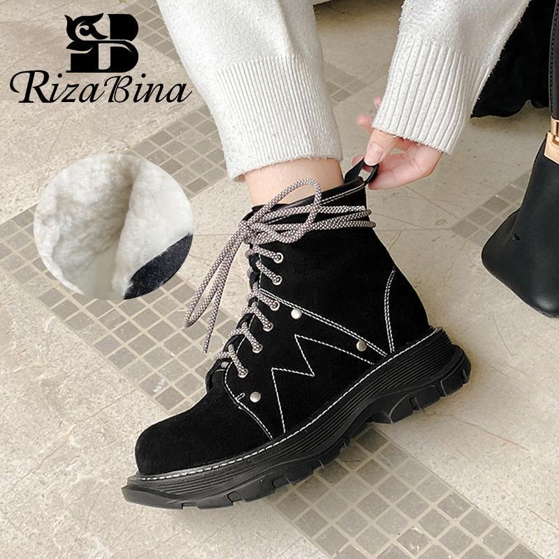 Rizabina Mujeres Snow Boots Real Cuero Cremallera Zapatillas de felpa Cálidas de invierno Zapatos de invierno Mujer Cross Cross Boot Short Boot Dama Calzado Tamaño 34-42