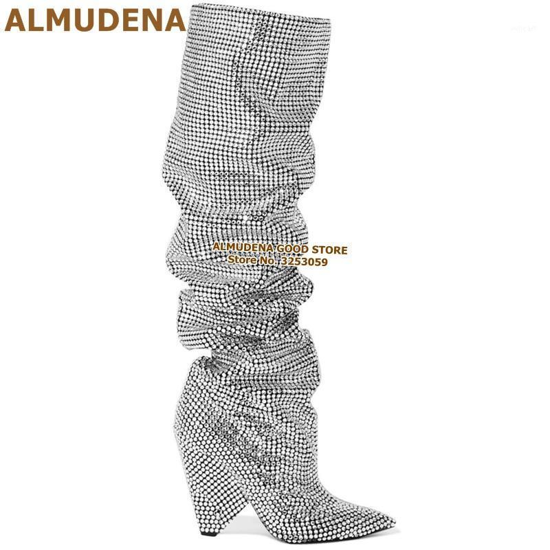 Almudena Argent Bling Bling Cristal Tall Bottes Spike Talon Spike Talon scintillant Strass Boutine Bottes Hautes Bottes longue Bottes Wedge Factory Real Photo1