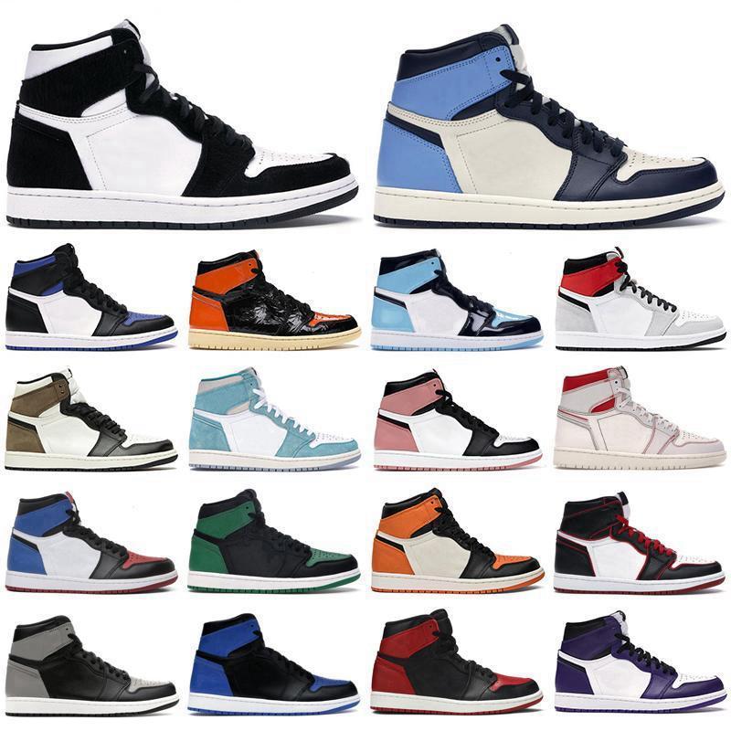 max airmax jordan aj Nueva alta zapatos 1 OG 1s mediados chicago real del dedo del pie negro metálico de oro de pino negro del verde de patentes  zapatillas de deporte