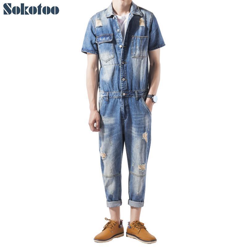 agujeros de manga corta Sokotoo hombres de rasgado mono ocasional del tobillo de los pantalones vaqueros denim longitud bolsillos de cultivo conjunto