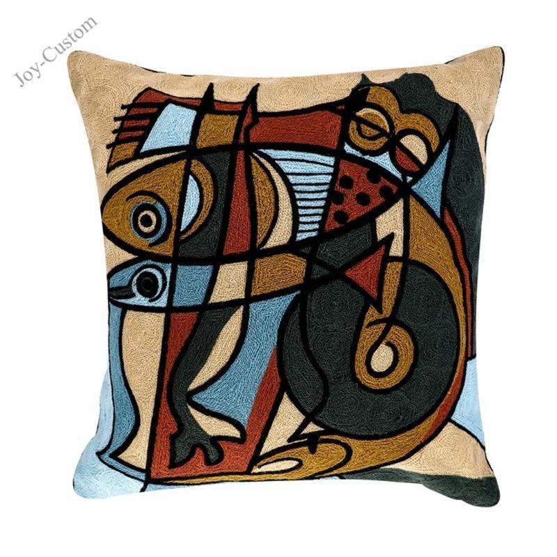 """Soyut Yastık Kılıfı Yastık 18x18 Modern Picasso Nakış Afrika Minder Kapakları 18 """"X18"""" (45 cm x 45 cm)"""