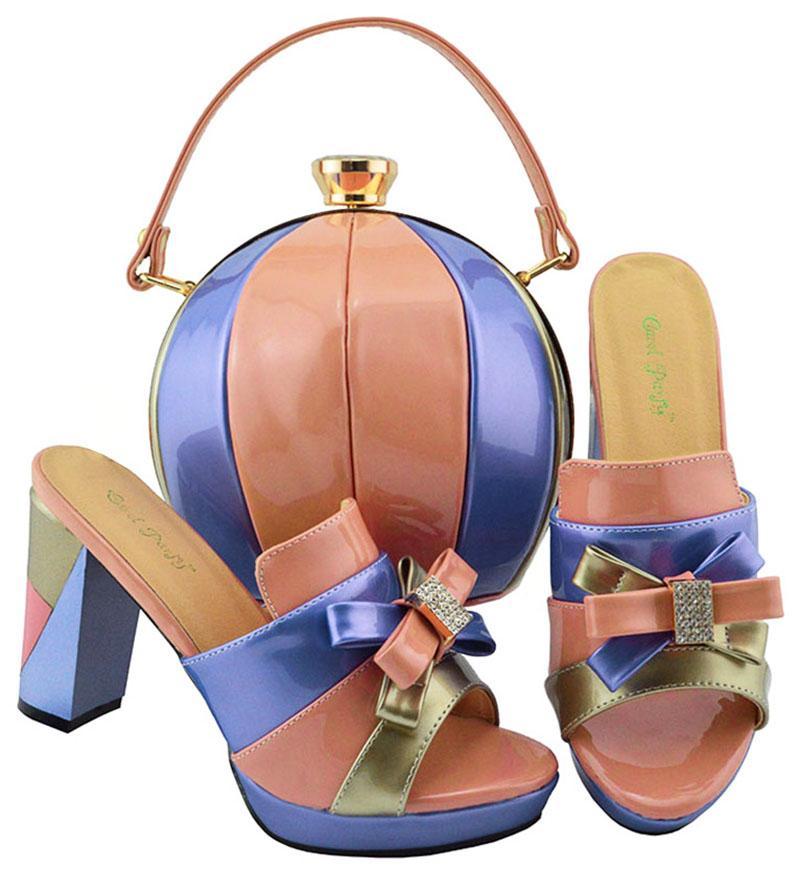 Hot Sale-neue Art und Weise Pfirsich und blaue Frauenschuhe mit Knotenentwurf afrikanischer Schuhen und Handtasche Satz für Kleidung Schuhe