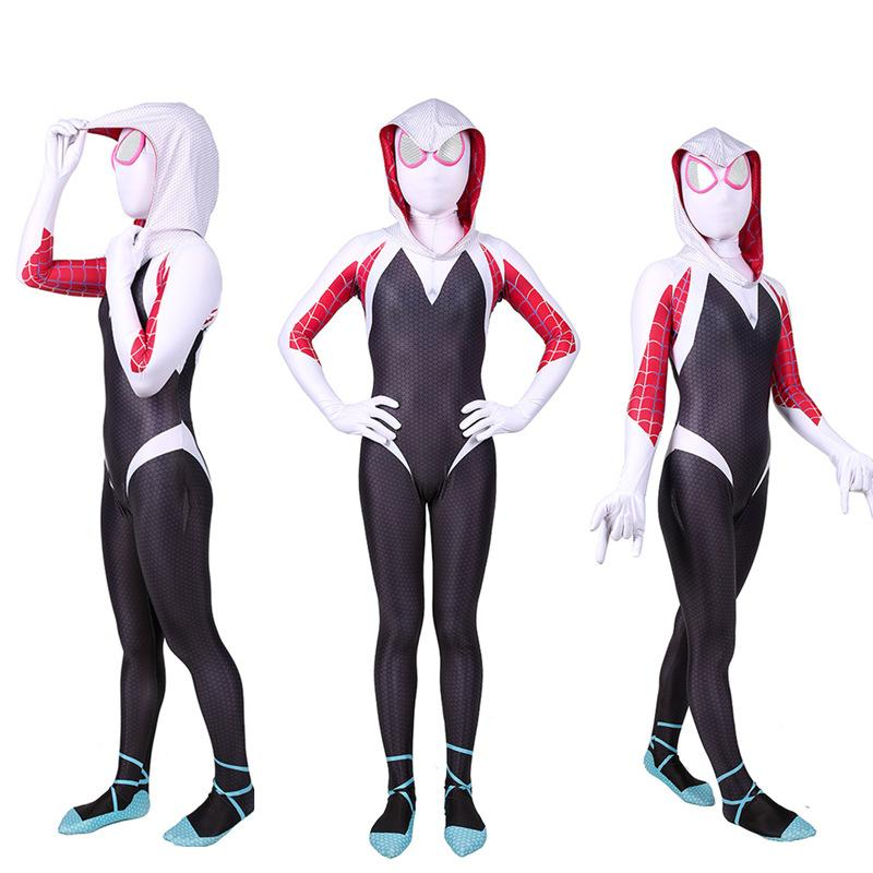 Anime Gwen Stacy Cosplay Costume Lycra for Halloween Costumes Gwen Bodysuit for Adult Kids Costumes Cosplay Girls Venom Costume Carnival
