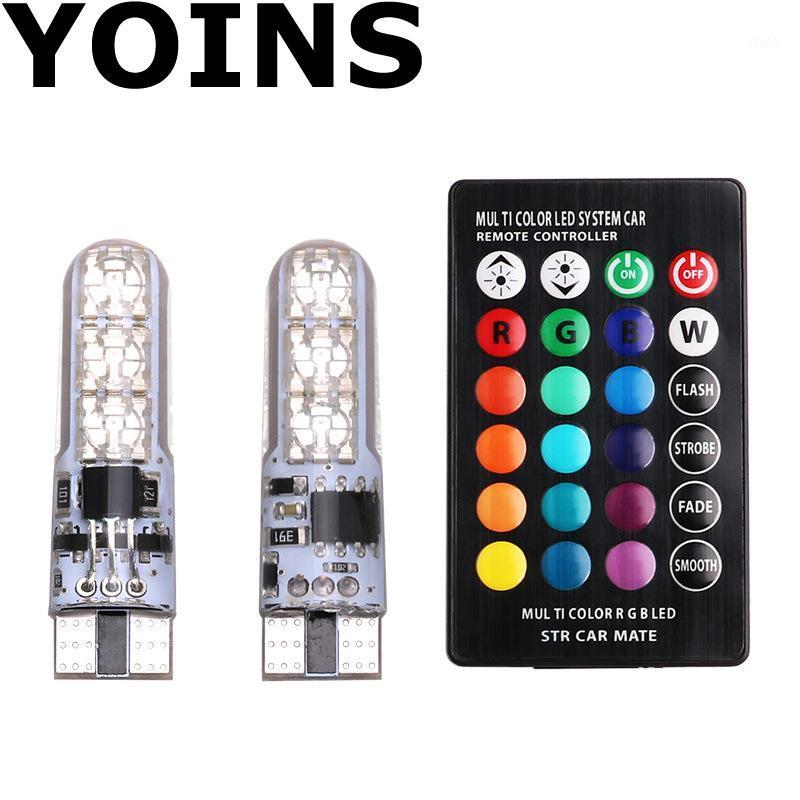 T10 W5W RGB Led Car Clearance Lights 194 168 Bulb Remote Width Interior Lighting Source for Brake Reading Dome License Light1