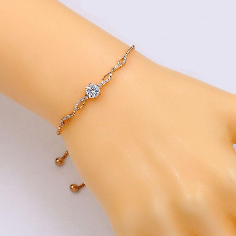 or véritable galvanoplastie tiroir réglable braceletversatile personalityexquisite pour les étudiants de zircons Bijoux Bracelet or véritable electropl