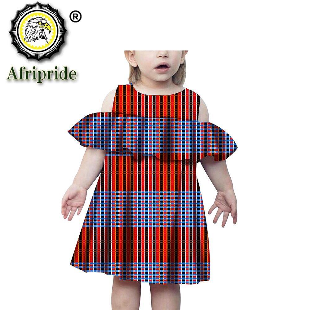 2020 Ancara impressão Bazin roupa de AFRIPRIDE Crianças Girls Dress puro algodão sem mangas personalizado floral Vestidos Crianças S1940001