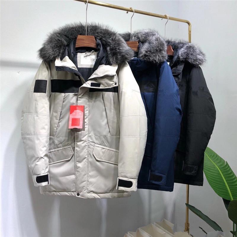 Chaqueta de la capa exterior 80% hombres del collar de lujo de piel desmontable ganso Menne invierno de los hombres