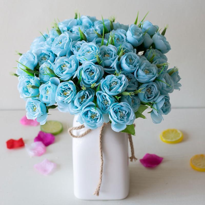 Kleine Seide gefälschte künstliche Blumen Flores Fleur Artificies Camellia Peony Staubblätter für Dekoration Blume 6 Gabel