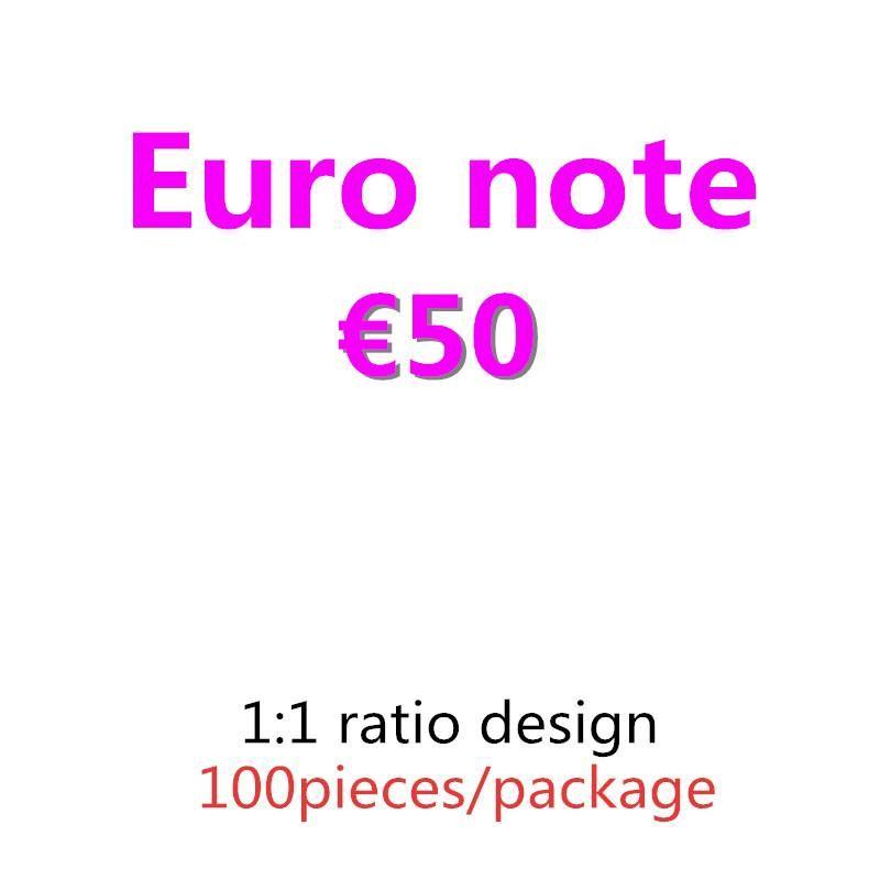 08 Bar 100pcs / Pack Película Prop Prop Best Banknote Pretend Money Money Copy 50 Prop Paper y Euro Afection