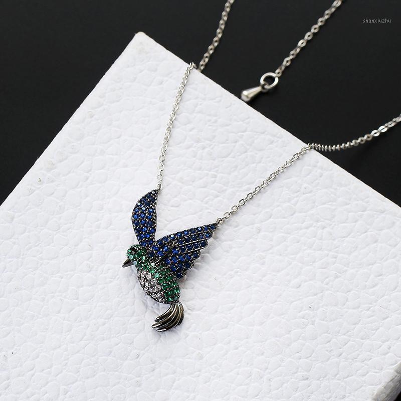 Chokers Cute Hummingbird Necklace Luxury Cubic Zircon Paved Adjustable For Women Girlfriend Gifts Jewelry XIUMEIYIZU Design1