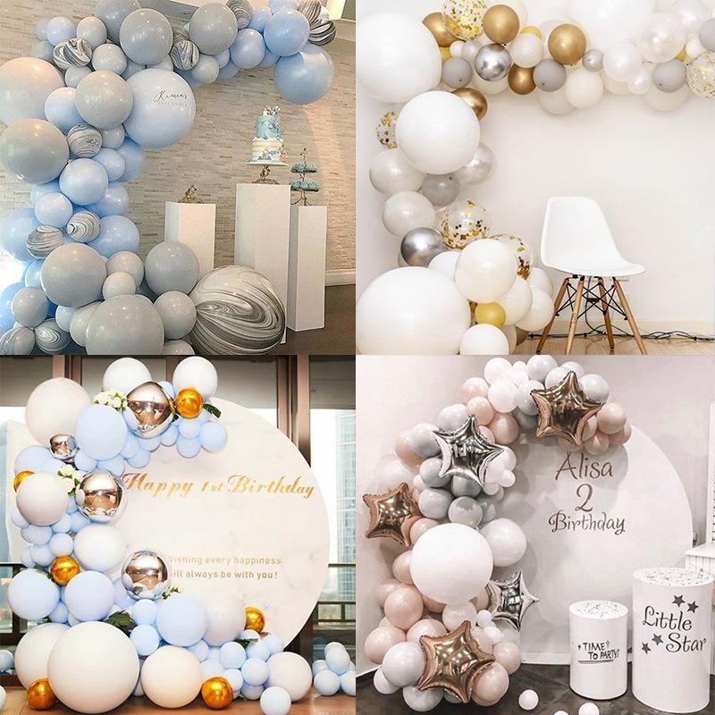 Баллон гирлянды Arch Kit Blue White Gold Латексные Воздушные шары Упаковка Детская Душ День Рождения Свадьба Обручальный Декор Подозрения1