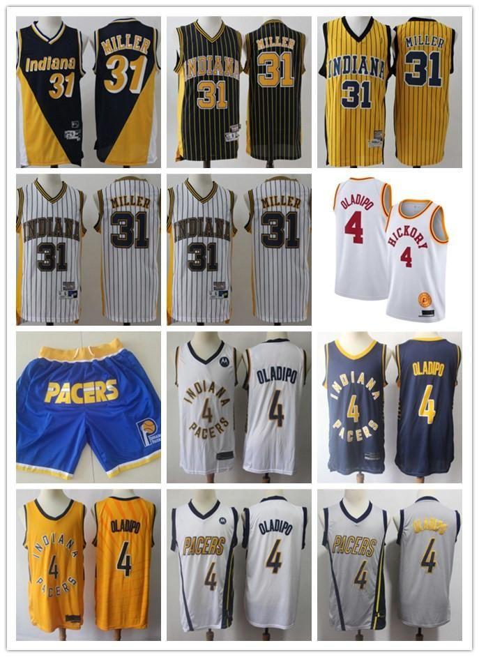 Pour des hommesIndianaPacteurVracReggie 31 MillerVictor 4 oladipoBasketball Shorts Basketball Jersey Noir Jaune Whi