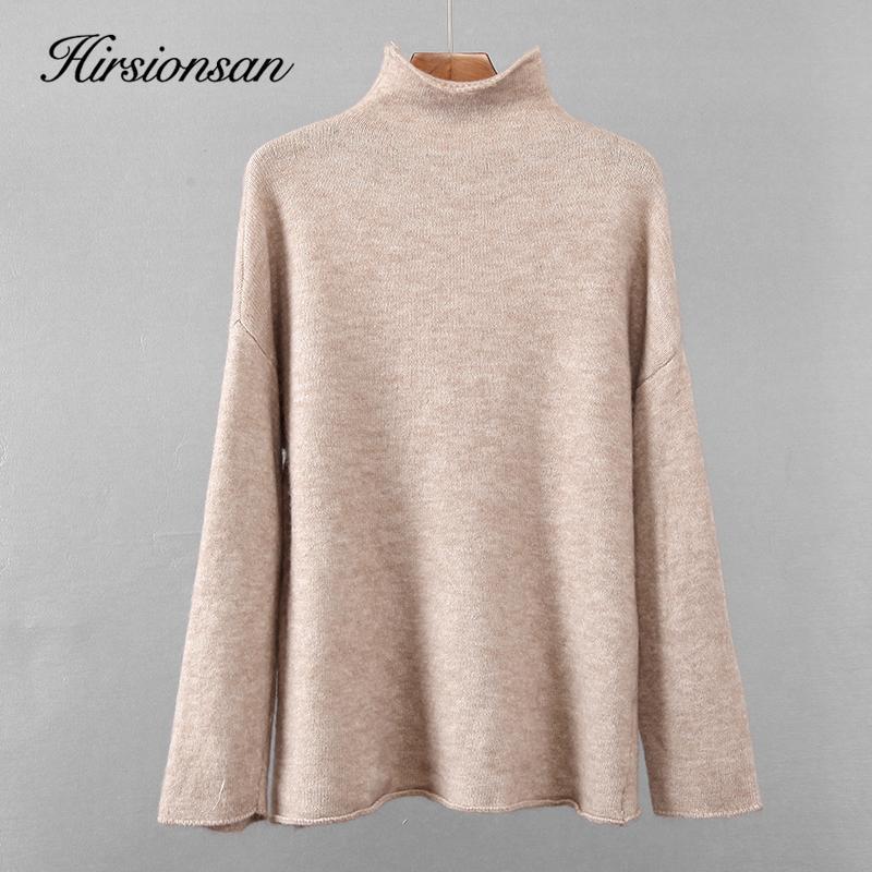 Hirsionsan Теплый свитер мохер Женщины 2020 Новый мягкий обжим Вырез кашемира пуловеры Корейский Coffe Хаки Трикотажные женские Tops