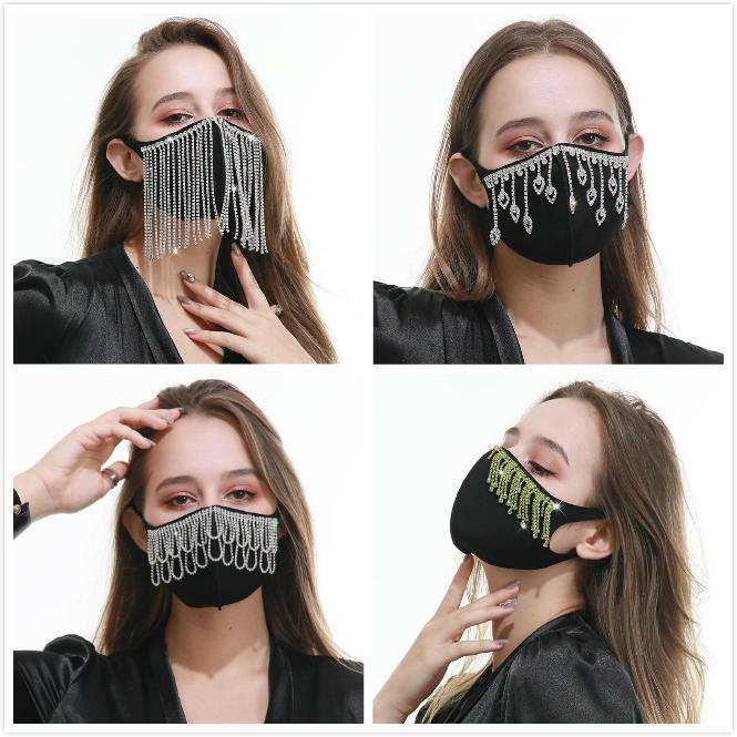 Rhinestone маска Protetive маски кристалл алмаза Искорка Многоразовый моющийся хлопка лица Обложка для подростка взрослых анти пыли BWC1712