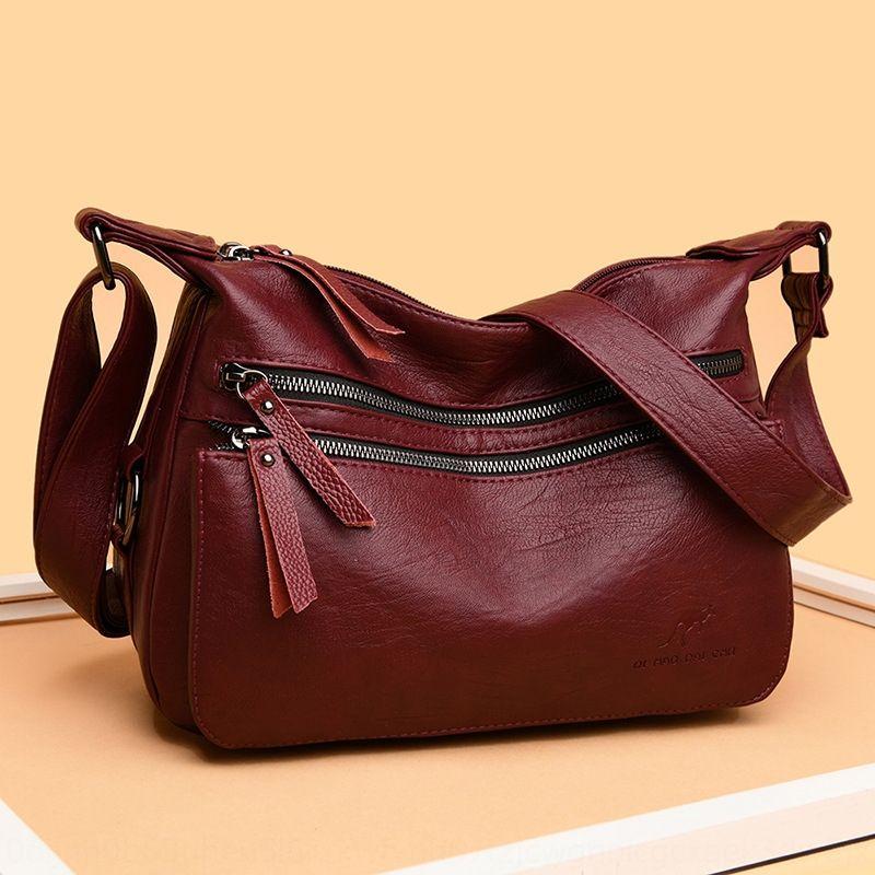 05MbM 2020 new fashion and shoulder aged middle elderly women's Shoulder Single Messenger Bag Korean fashion soft leather women's bag p8Qq7 p
