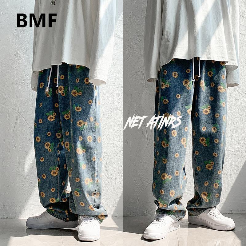 Jeans pour hommes Streetwear Streetwear à la mode Vêtements de tournesol lâche Hold Hommes Vêtements Pantalon de style coréen Hip hop KPop Couple Denim Pants
