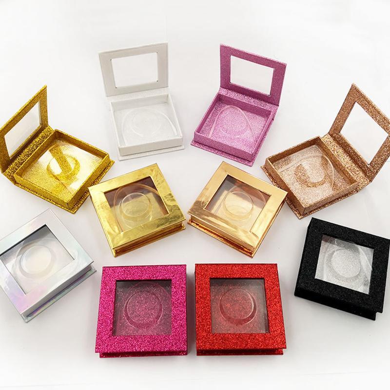 10pcs Praça cílios falsos Embalagem Box personalizado seu Logo Falso 3d Mink cílios Caixas Faux Cils tira chicote caixa vazia