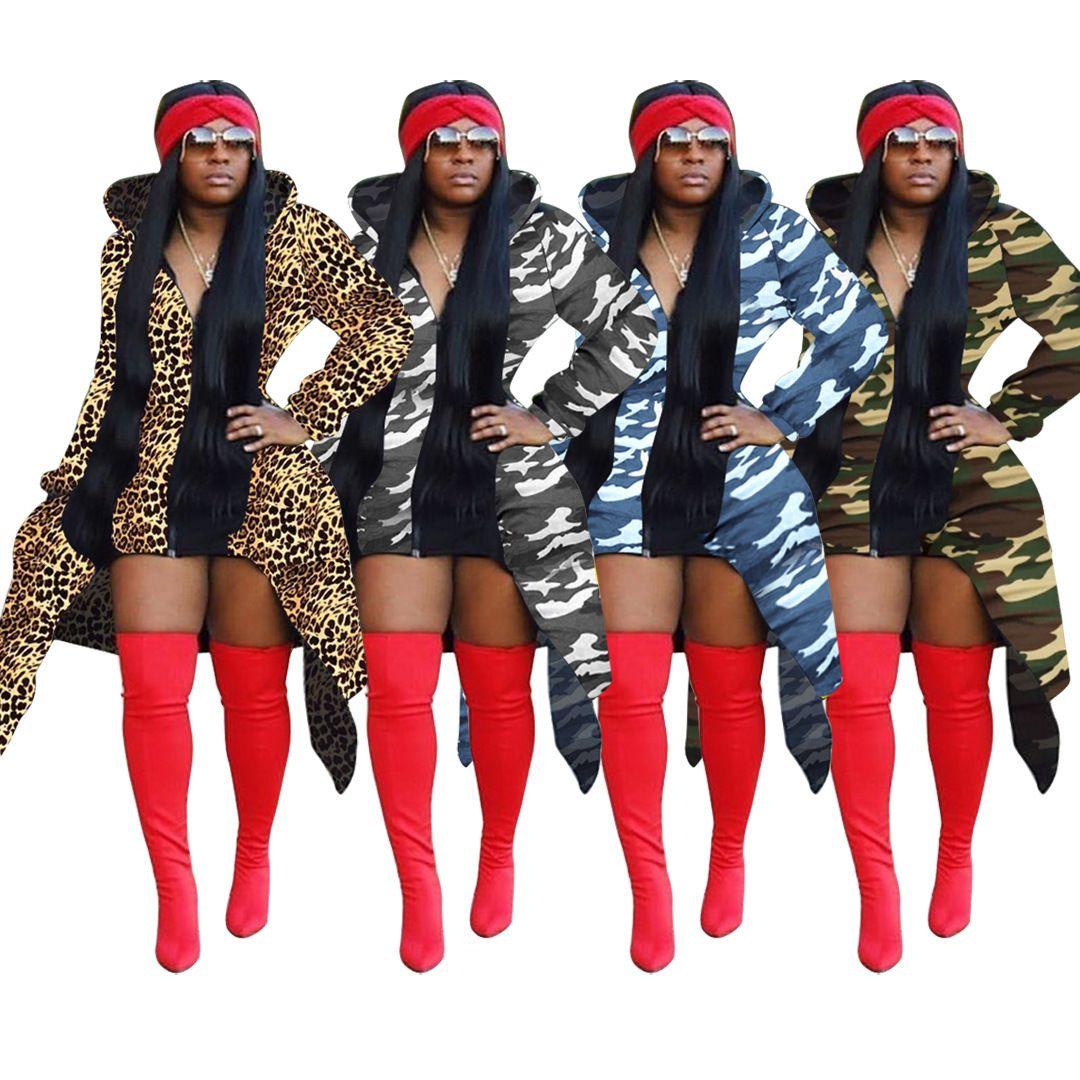 Women Fashion Clothing Print Women's Dress With Big Tail Swing Zipper Hoodie Long Sleeve Designer Trench Spring Coat