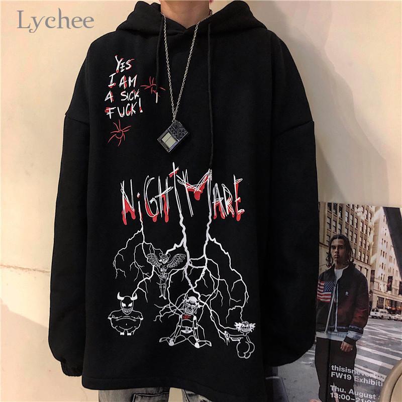 Lychee Harajuku lose beiläufige weibliche Hoodies Pullover Graffiti Teufel Brief Frauen T-Shirt Herbst Dame Sweatshirts Tops 201007
