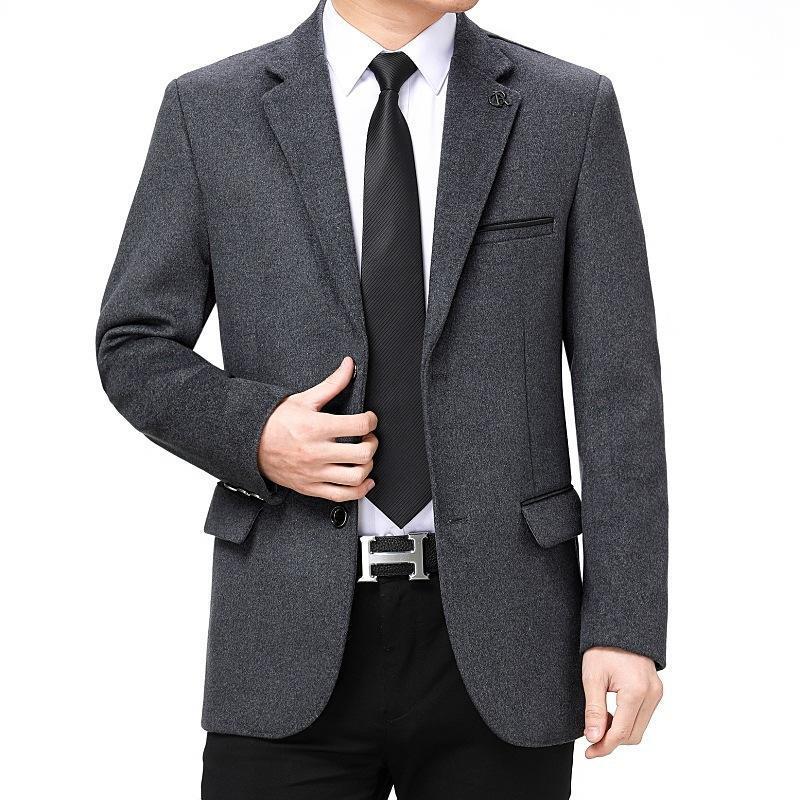 Мужские костюмы Blazers Blazer Masculino Темно-синий Серый 2 Цвета Бизнес Мужской Костюм Куртки Осень Мужской Длинный Рукав Отворотающий Прямой Повседневная Костю