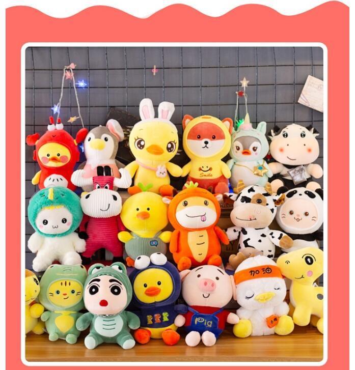Venta al por mayor 9 pulgadas de peluche juguetes de peluche de peluche conejito dinosaurio oso lindo muñecas para niños Año Nuevo Regalo de cumpleaños Regalos de boda Giveaway regalos