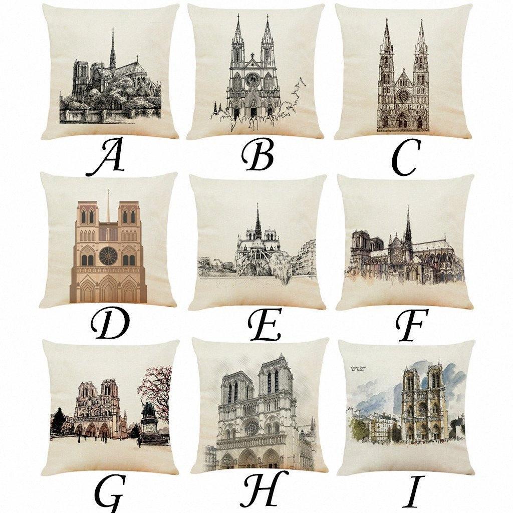 Kapak Paris Kutsal Yapı Yastık Yastık atmak Ev Dekorasyonu Yastık Ev sandalye Kare yastık Yastık kılıfı 45cm x 45cm r5S5 # Kapaklar