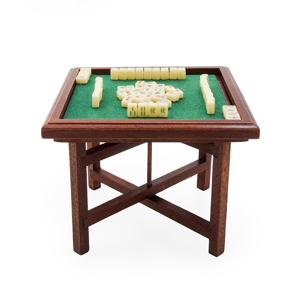 Odoria 01:12 Minyatür Çin Mahjong ve 1019 Ahşap Masa Seti Dollhouse Dekorasyon Aksesuarları