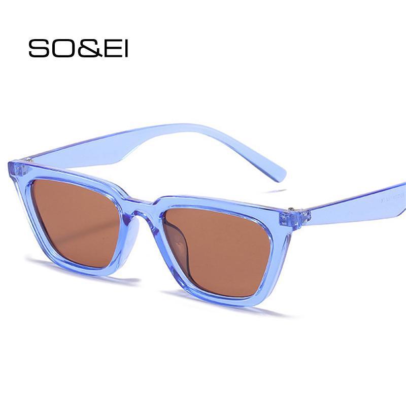 Soei moda gato olho óculos de sol mulheres vintage claro azul óculos masculinos uv400 azul amarelo óculos de sol amarelo
