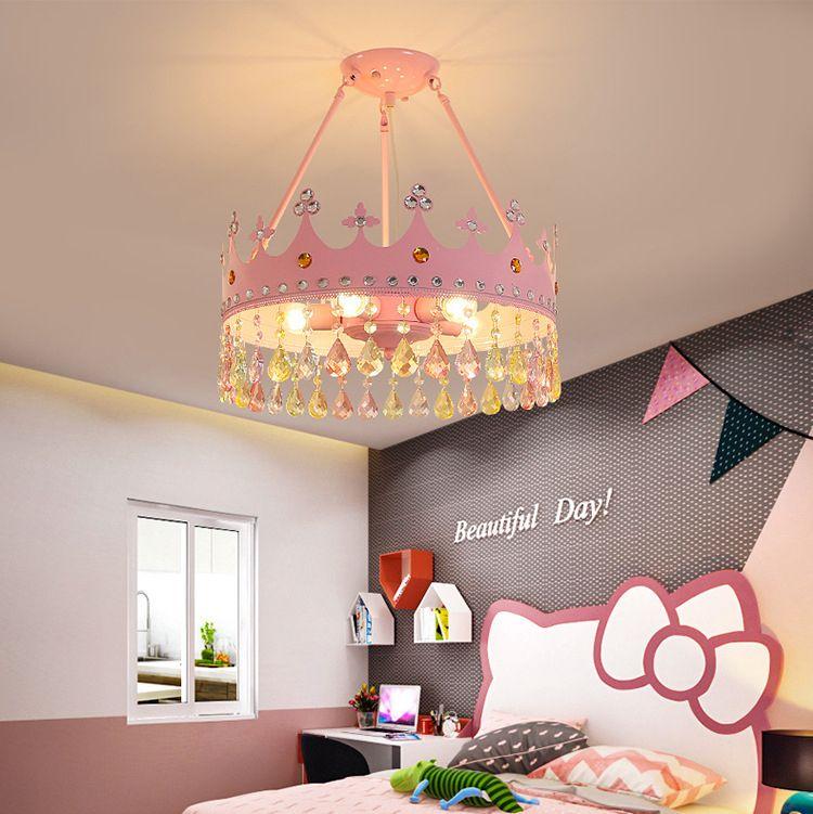 Светодиодная детская комната Crystal Crystal Crystal Crystal Net Red Ins Princess Girl Мультфильм Корона Защита от глаз Димминг Изучение Спальня Люстра