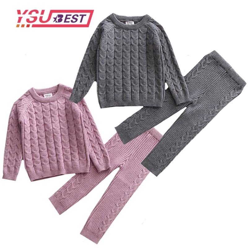Детская одежда набор вязание пуловер Baby Girls одежда малыша мальчики одежда свитер и брюки детские набор детей бутик одежды 201126