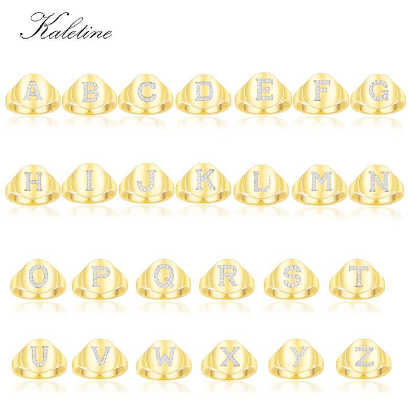 KALETINE 100% argento sterling 925 anelli per le donne lettere A-Z Cocktail anello gioielli per la ragazza di modo delle donne Anniversario uomini Regali