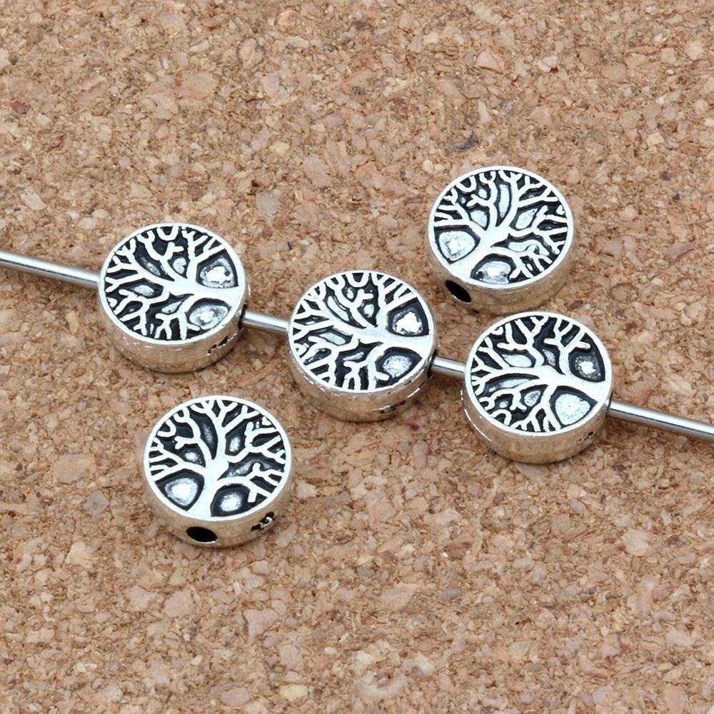 150pcs / lots Argent antique / or arbre d'or arbre de vie des perles d'espacement en vrac pour la fabrication de bijoux Accessoires de bracelet 9mm D49