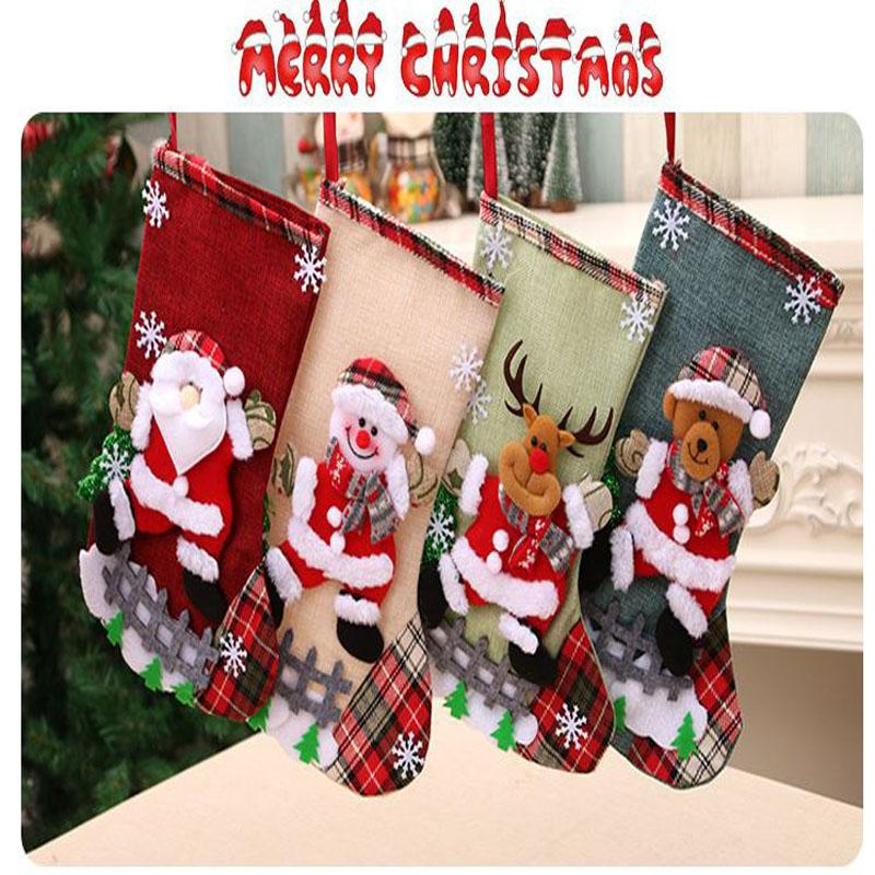 Christmas Large Stockings Snowman Santa Claus Beer Gift Bags Xmas Socks Hanging Candy Ornaments Christmas Decor