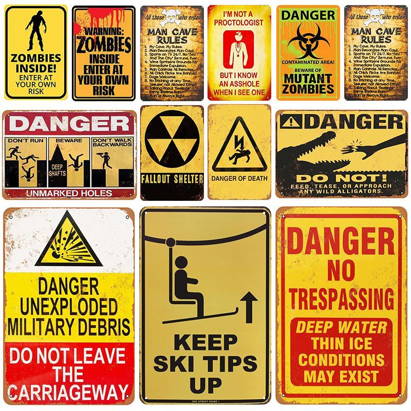 2021 AVERTISSEMENT DANGER PLAQUE MÉTAL MÉTAL Vintage Signe d'étain Pin Up Shabby Chic Décor Signes Metal Signes Bar Décoration Métal Affiche Pub Plaque Art Peinture
