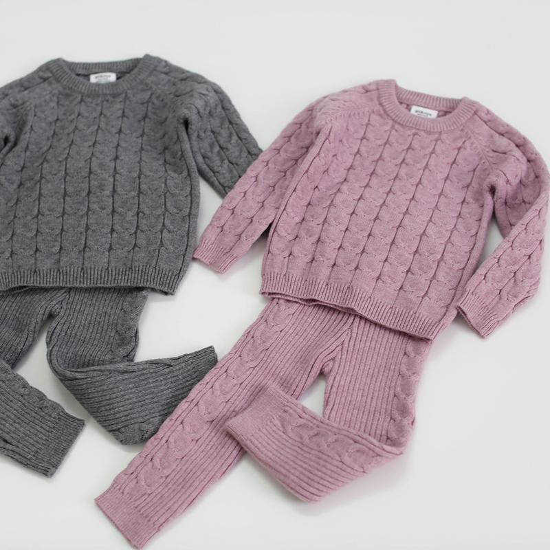 Одежда наборов Осенние малыши малыша мальчики девочек установить свитер + брюки младенческие вязаные костюм густой теплой зимней одежды