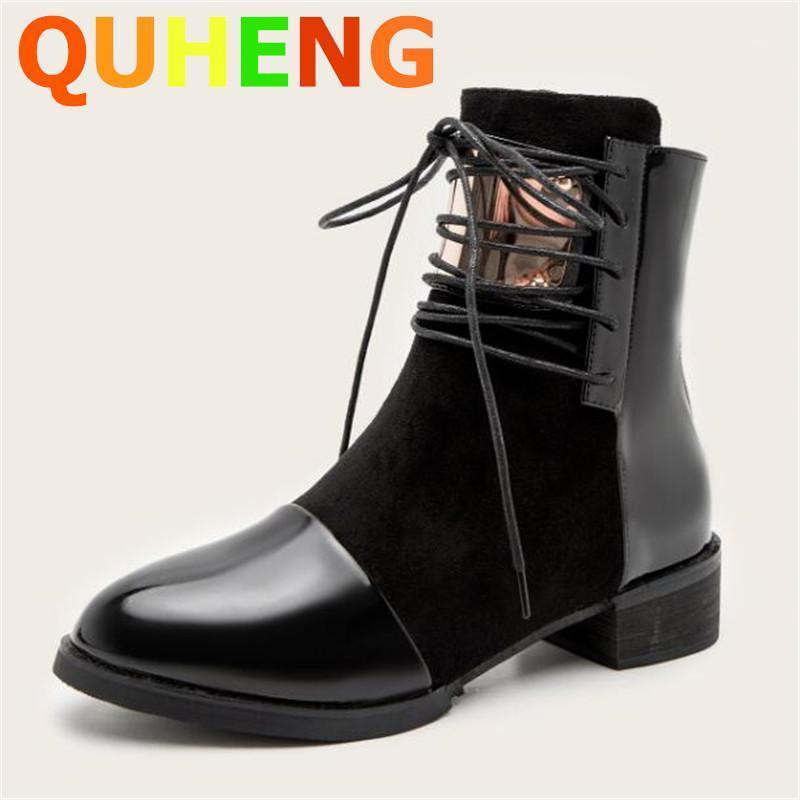 Boots Women's Winter 2021 Fashion Wild Patent Leather British Style Short Handsome Motorcycle Botas De Mujer1